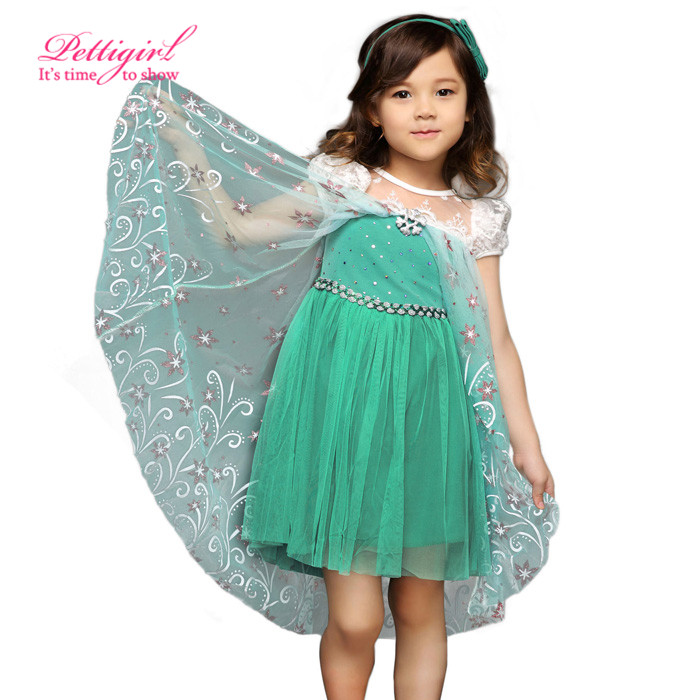 2016 Fashion Summer Elsa Dress Lace Puff Sleeve Green Party Dresses With Flower belt And Cape Anna Christmas Kids Costume Wear(China (Mainland))