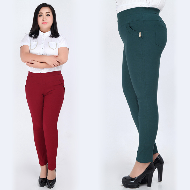 Extra Large Plus Size 3XL-6XL Clothing Trousers Pencil Pants Elastic High Waist Women Skinny red/green/blue/black. - Fashion TOP Sweater store