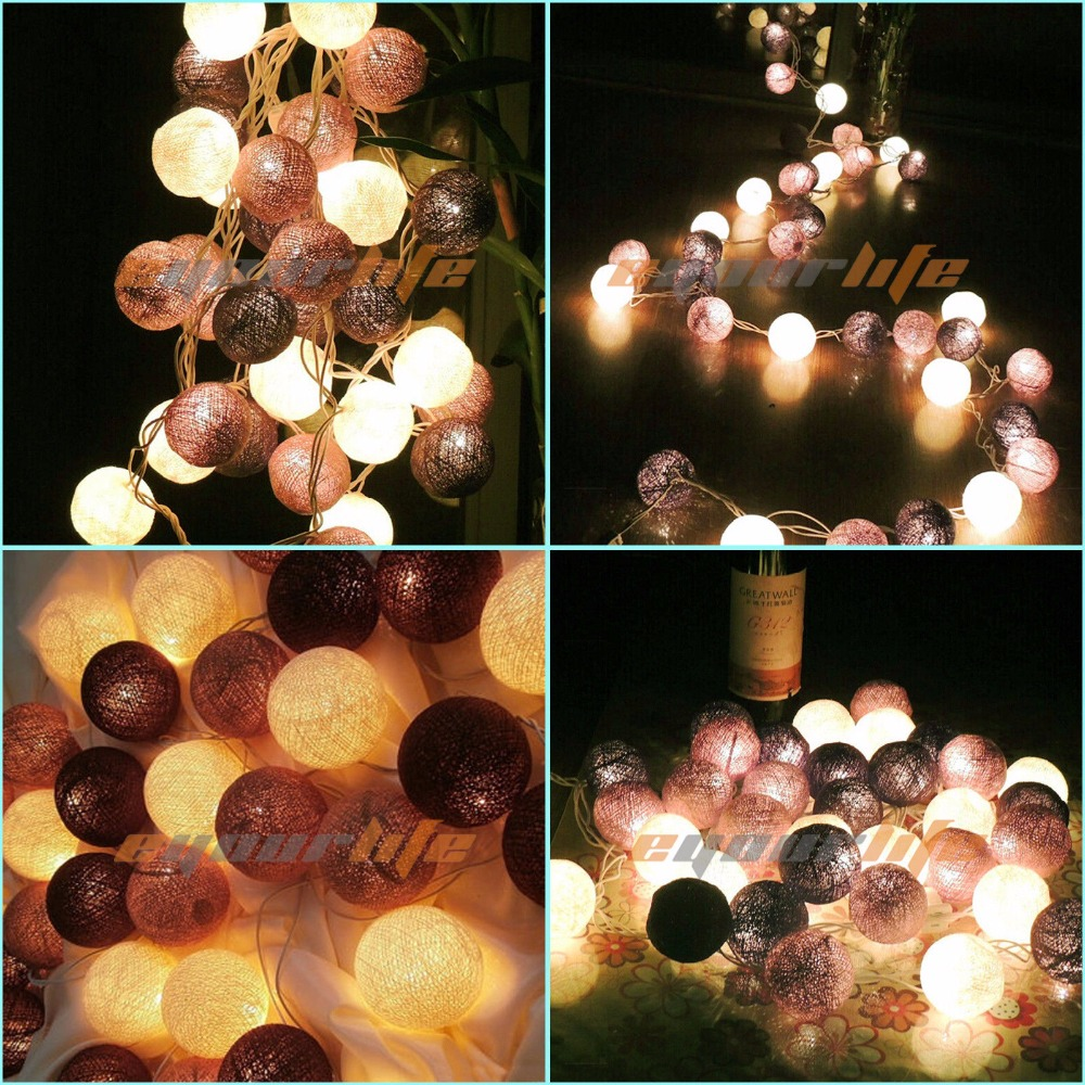 20 Cotton Balls LED String Light Battery Box DIY Indoor/Outdoor Decoration Bulb Home Room Wall ...