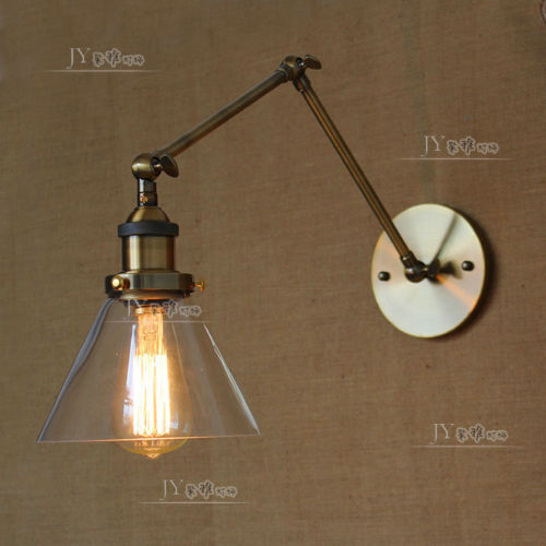 20TH C. Library Clear Glass Double Swing Arm Sconce Bronze Finish Restoration Wall Lamp Indoors Light(China (Mainland))