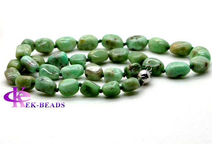18 inch Natural Genuine Emerald Green Necklace Beryl Nugget Loose Beads Fashion 0765 - Veemake Gemstone Store store