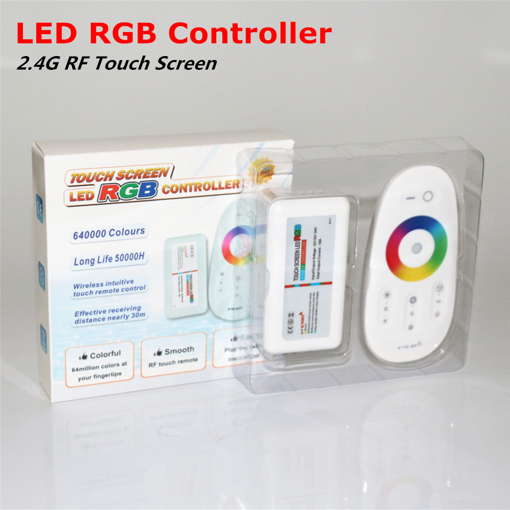 RGB LED Strip Controller DC12-24V 18A 2.4G Touch Screen Wireless RF Remote Control for 5050 3528 3014 2835 RGB LED Strip light(China (Mainland))