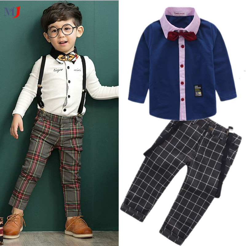 2016 New Shirt Denim Overalls Pants Coat Suit Baby Boys Casual Clothing Sets Children's - MJ Clothes store
