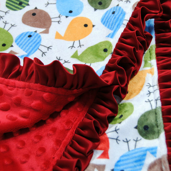 Girl Stroller Blanket Size 50cm*68cm Red Minky Dot & Bird Print Elegant Packaging Can Be Birthday Gift To Children Summer Style(China (Mainland))