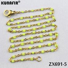 10 Uds.-20 piezas color dorado cadena cruzada de 1,5mm con colores collar de acero inoxidable de resina joyería de moda para mujer ZX691DG(China)