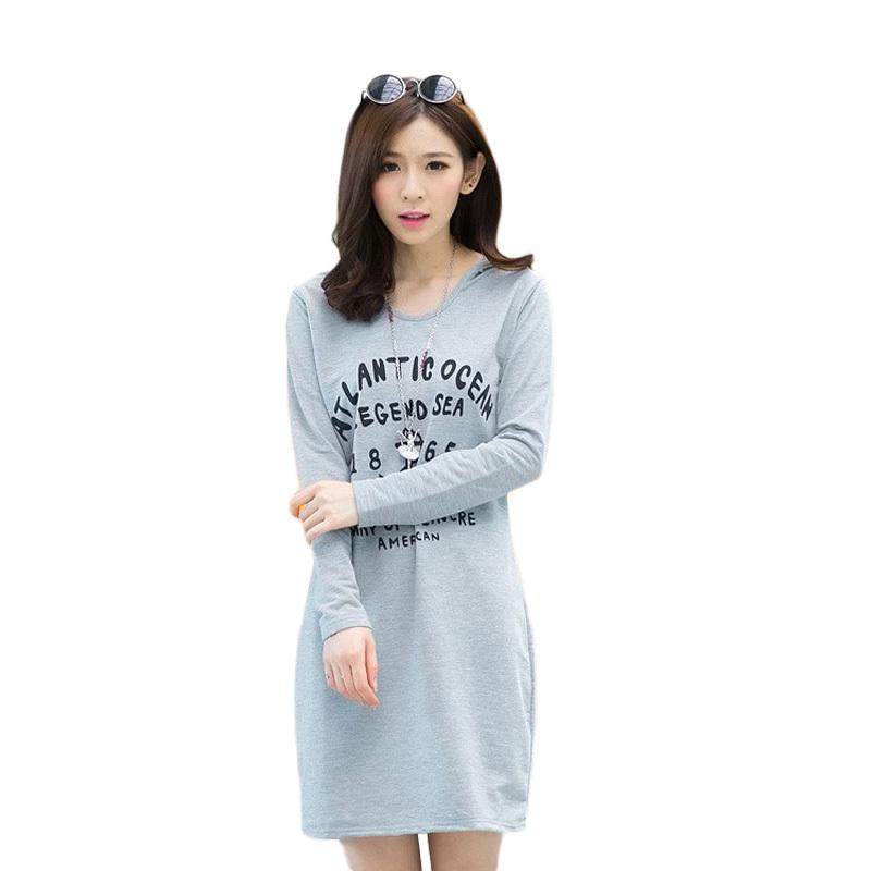 Plus size dresses New 2015 Fashion women Casual Hooded Cotton Print Bodycon Dress Loose Knee Length Summer Sport vestidos 558 - Shenzhen Xuou Technology Co., Ltd. store