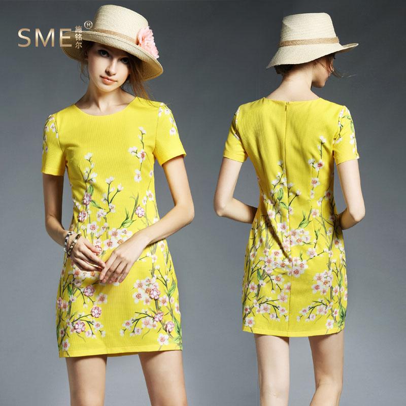 Europe Summer 2016 runway Sicilian Flowers printing embroidery fresh yellow plus size XL short-sleeve slim cute mini dress