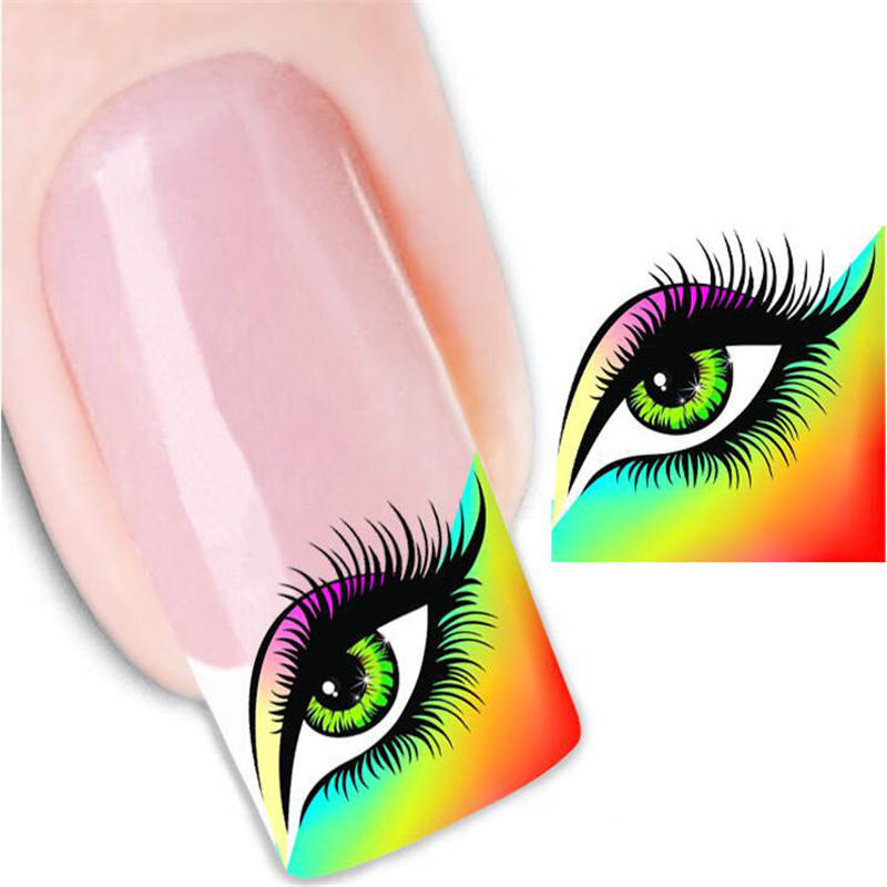 2Sheets Charming Eyes Nail Sticker & Decal Fashion Nail Tools Water Transfer Manicure Stickers Beauty Fingernail Accessories(China (Mainland))