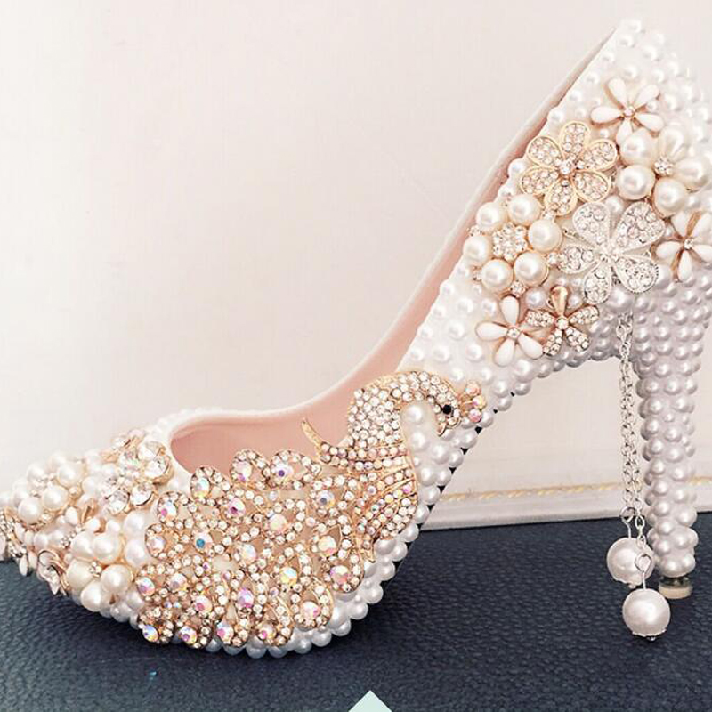 Rhinestone Phoenix Flowers Appliques Wedding Shoes White Pearl High Heels Pointed Toe Bride Shoes Pretty Prom Celebrity Shoes<br><br>Aliexpress