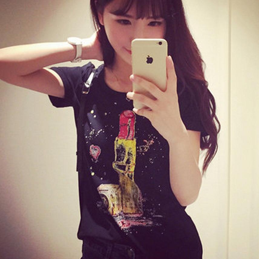 The new T-shirt printing female lipstick good quality(China (Mainland))