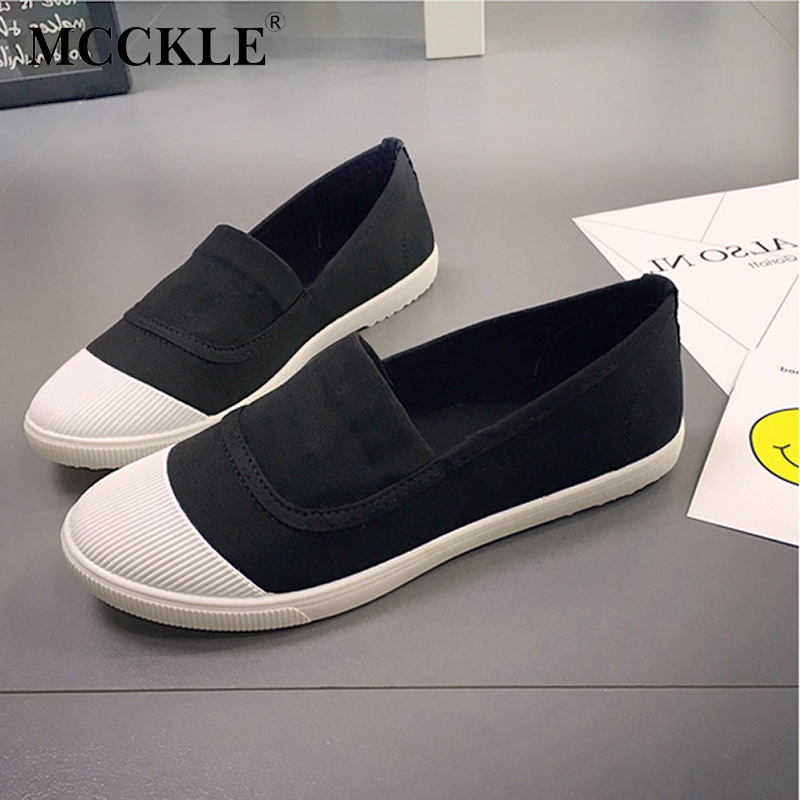 MCCKLE Female Shoes Patchwork Shallow Women Flats Fashion Canvas Pointed Toe Slip Loafers Ladies Solid Leisure Shoes