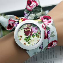 New design  Ladies flower cloth wrist watch fashion women dress watch high quality fabric watch sweet girls watch