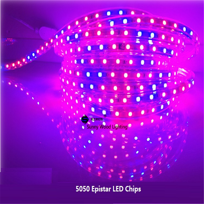 5M/Roll 5050 60led/m 220VAC plant growing strip,waterproof led greenhouse light for outdoor use ,Red blue strip 4:1,5:1,7:1,8:1(China (Mainland))