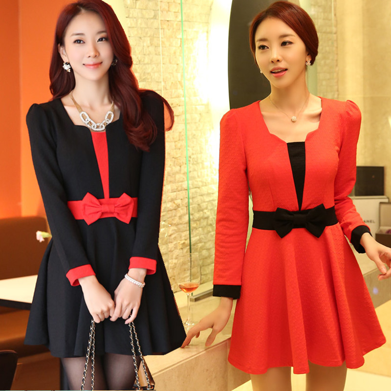 F~3XL New 2015 Women Sexy Korean Plus Size Square Patchwork Bow Ruffles Long-sleeve Slim Ruched Short Puffy Brand Dress Vestidos(China (Mainland))