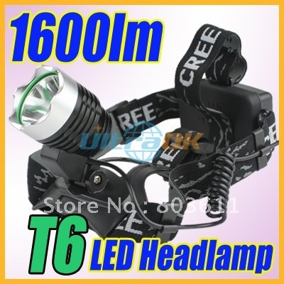 1600 lumens CREE XML T6 LED Aluminum alloy Headlamp Head Torch Lamp light Flashlight 3 Mode black new+AC Charger free shipping