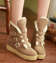Nuevos 2014 botines mujeres botas de nieve de invierno con la piel de cuero del diseñador de moda zapatos antideslizantes térmicas más el tamaño 34-42(China (Mainland))