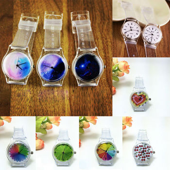 Transparent Silicone strap High Quality Classic Crystal Watch Cartoon Novelty Student/women Watch
