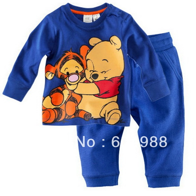 New arrivals baby cartoon bear pajamas kids 100% cotton long sleeves pyjamas baby clothing sleepwear 6sets/lot