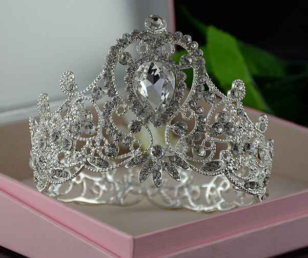 Gorgeous sparkling silver plated clear crystal big wedding crown hairband bridal tiara hair accessories 1pc/lot(China (Mainland))