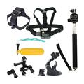 6 in 1 Go Pro Accessories Set Chest Belt Head Strap Bobber Floating Monopod Tripod for