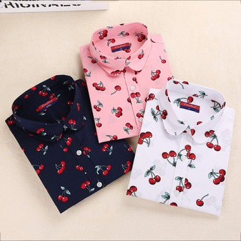 New Floral Women Blouses Shirts Casual Cherry Blouses Long Sleeve Ladies Tops Fashion Blusas Clothing For Womens Plus Size 5XL