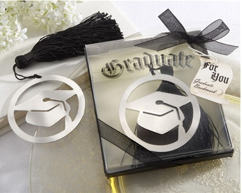 "Wedding Gifts ""The Next Chapter"" Graduation Bookmark with Elegant Black Tassel On Sale! Wholesale doctorial hat Bookmark(China (Mainland))"