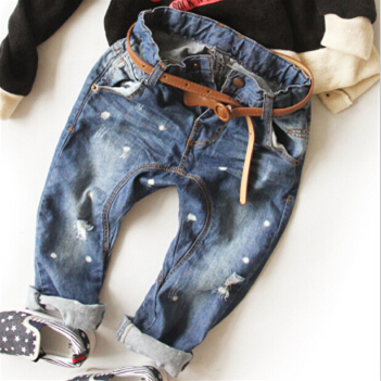 2-8Y new 2015 autumn winter high quality boys fashion dot hole jeans children pant kids jeans boys trousers(China (Mainland))