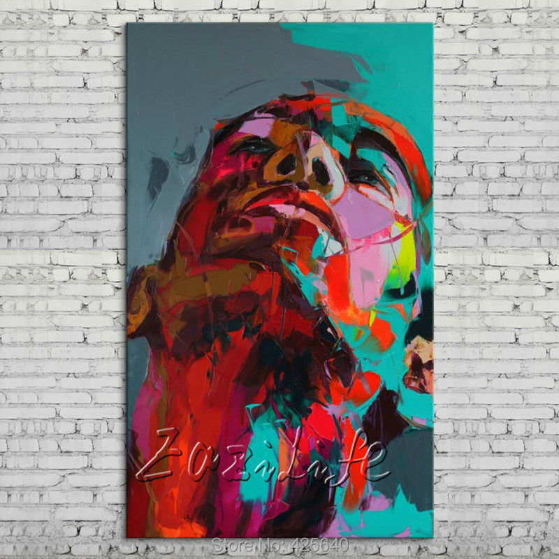 Buy Palette knife portrait Face Oil painting Character figure canvas Hand painted Francoise Nielly wall Art picture 77 cheap