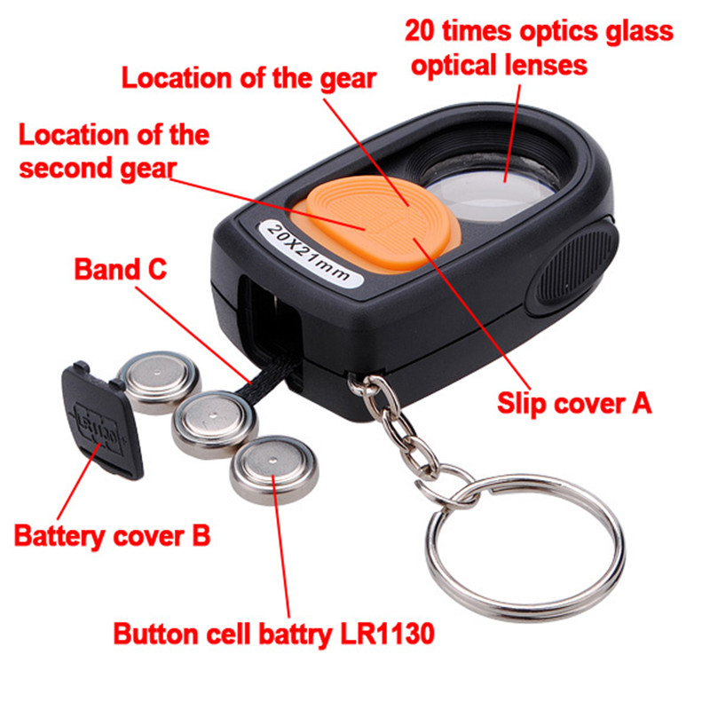 Different Price 20X 21mm LED Light Jewelry Magnifier Magnifying Eye Glass Loupe &Compass&Keyring Watch Repair Tool(China (Mainland))