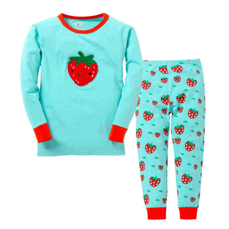 Гаджет  2 To 7 Years Kids Girls 100% Cotton Casual Full Sleeve Embroidery Strawberry Clothing Sets Boys Top Pants Family Clothing Sets None Детские товары