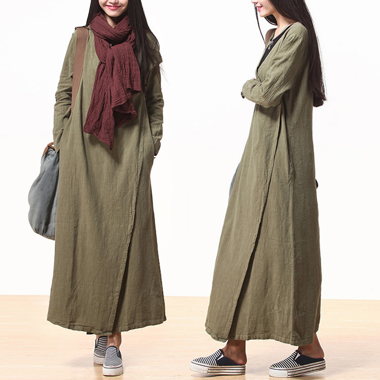 Casual Women Dress Long-Sleeve Loose-Waisted Green 100% Linen Robe Longue Femme V-Neck Button Pocket Solid Color Free Size - Be 2 Boutique store