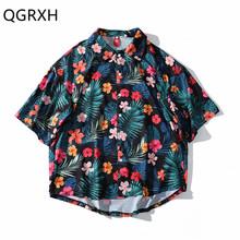 Aloha Harajuku короткий рукав рубашки для мужчин летняя Цветочная гавайская рубашка Wo для мужчин s Японская уличная хлопковая печать мужские руба...(China)
