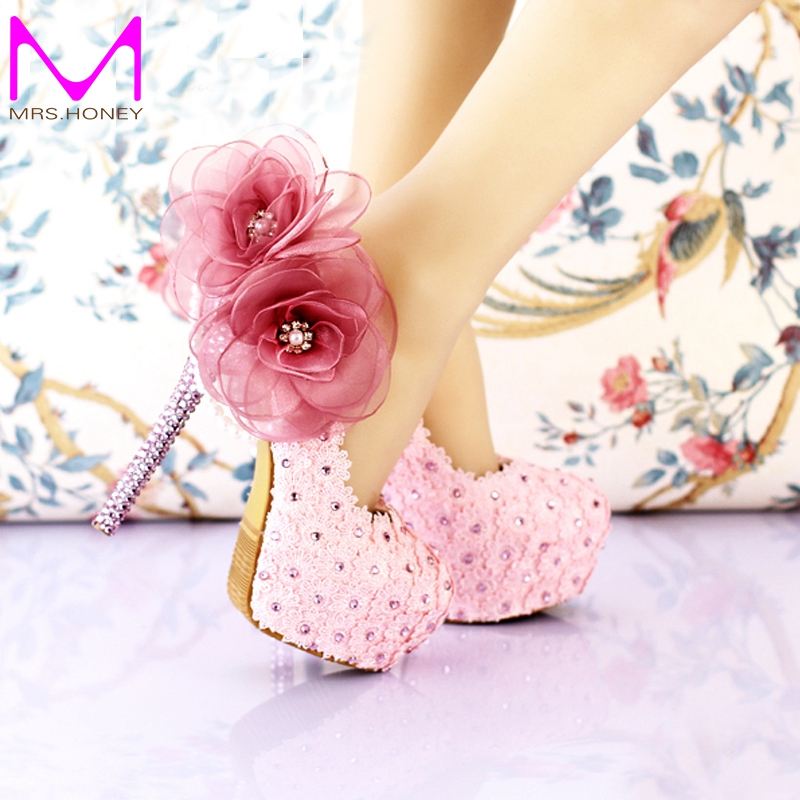 aliexpress buy 2016 handmade pink lace wedding shoes