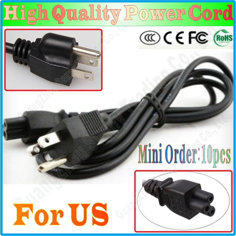 Wholesale 10pcs 3 Prong US plug Laptop PC AC Adapter Power Cord Cable for HP Dell Samsung Lenovo toshiba 1.5Meters(China (Mainland))