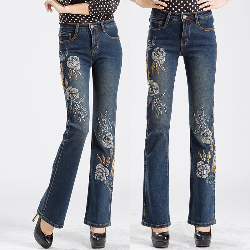 Fall Winter Vintage Womens Designer Flower Flare Jeans With Embroidery  Stretch Embroidered ...