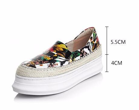 Women Spring Autumn Full Grain Leather Flowers Casual Increased Internal Shoes Genuine Leather Fashion 2016 New Retro Shoes 1206