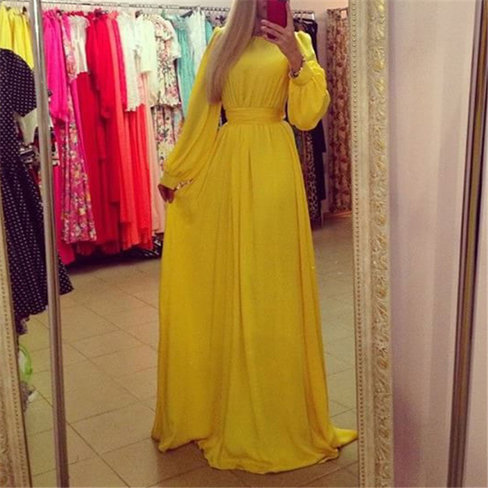2015 new arrival women dress casual solid yellow vintage summer style dresses long maxi(China (Mainland))