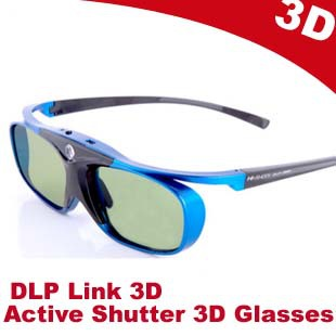 Free shipping Hi-shock Universal Rechargeable Active Shutter 3D Glasses for All DLP Link 3D Ready Projector(BenQ,Vivitek,Optoma)(China (Mainland))