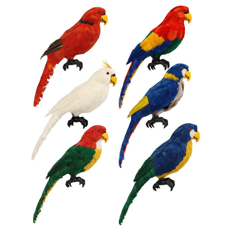 Colorful Handicraft Animal Bird Parrot Adorn Feather Bird Adornment Arts Crafts Garden Sculpture Home Decoration Ornament(China (Mainland))