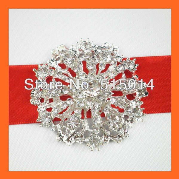 Free Shipping ! 100pcs/lot 40mm Wedding Invitation Brooches , flatback ,silver plated.Rhinestone cluster ,Wedding Embelishment