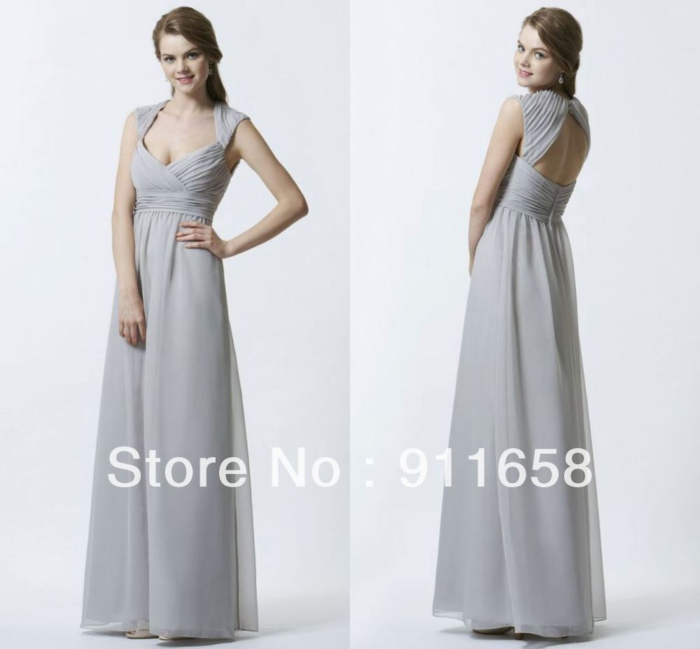Light gray v neck a line floor length cap sleeves chiffon for Light grey wedding dress