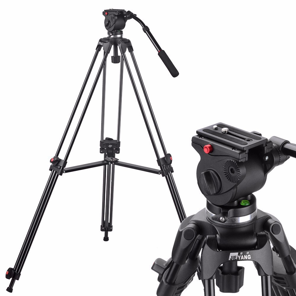 JY0508A JIEYANG Camera Camcorder Tripod Professional for Video Stand DSLR Video Tripod Fluid Head Damping 1610mm