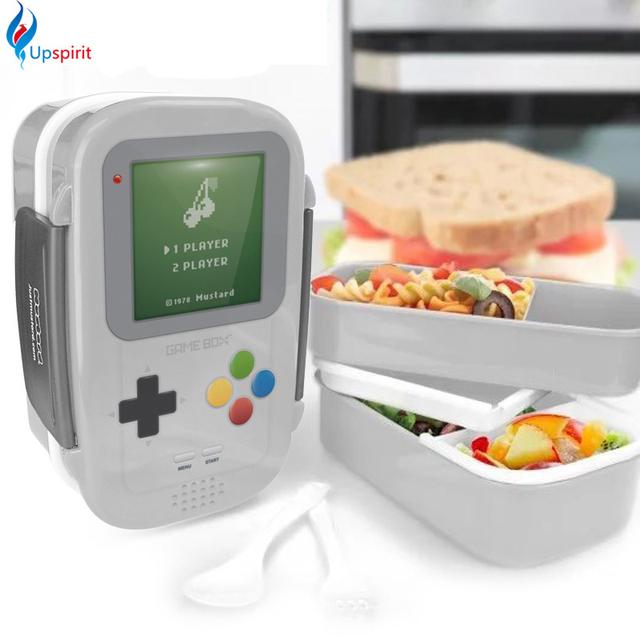 Камера Формы Пластиковые Большой Размер Двойной Уровня Бенту Lunch Box Суши Бенто Коробка Microwavable LunchBox С Ложка Вилка Столовая Посуда Набор