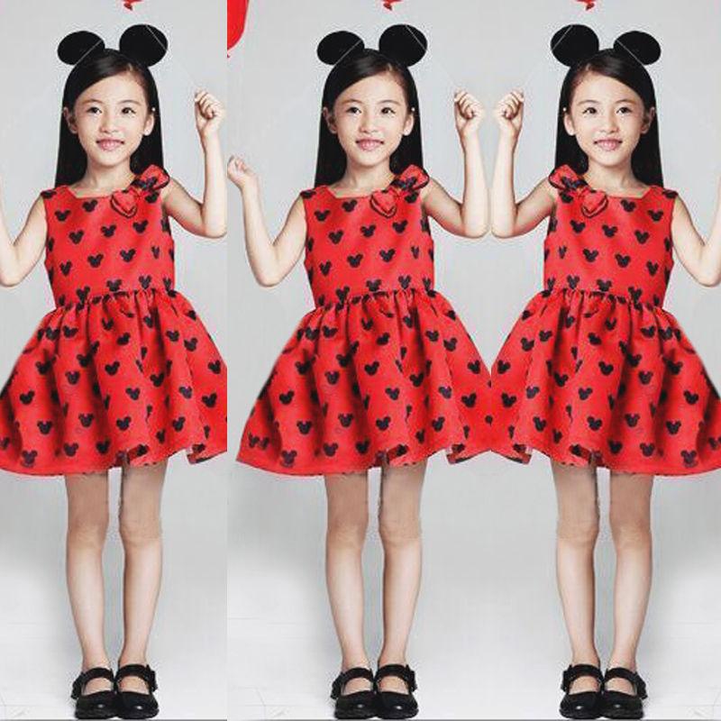 2016 New summer dress Minnie Mouse Dress girls clothes printing Heart sleeveless dress dress girl fashion(China (Mainland))