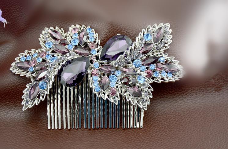 Bridal Hair Comb Rhinestone Hair Clips Flower Bridal Comb For Hair Jewelry Crystal Wedding Headpiece Ornaments WIGO0414(China (Mainland))