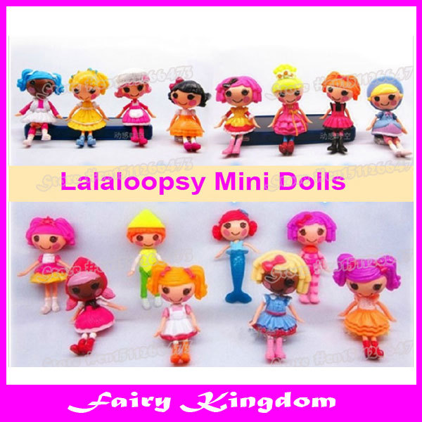 8 PCS=1 SET Lot of 8 Lalaloopsy Mini Dolls 3inch 8cm For Girl Toy PlayHouse Each Unique drop shipping(China (Mainland))