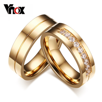 Wedding Bands Rings For Love 18K Gold Plated CZ Diamond & Zirconia Stainless Steel Ring