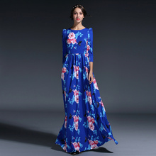 HIGH QUALITY Russian Newest Fashion 2016 Women's 3/4 Sleeve Bohemian Floral Butterfly Print Blue Holiday Party Maxi Long Dress(China (Mainland))