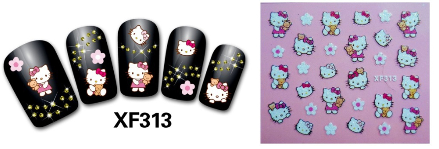 24pcs/lot 3D Design Tip Nail Art Sticker Decal Manicure Cute KT nail stickers Free Shipping Wholesale,XF313(China (Mainland))