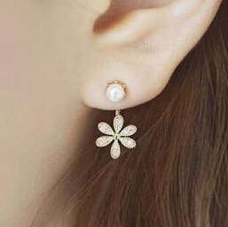 Blue Kiss 2015 New Summer Style Top Quality Ladies Pearl Rhinestone Five Leaves And Flowers Stud Earrings For Women E425 E426<br><br>Aliexpress
